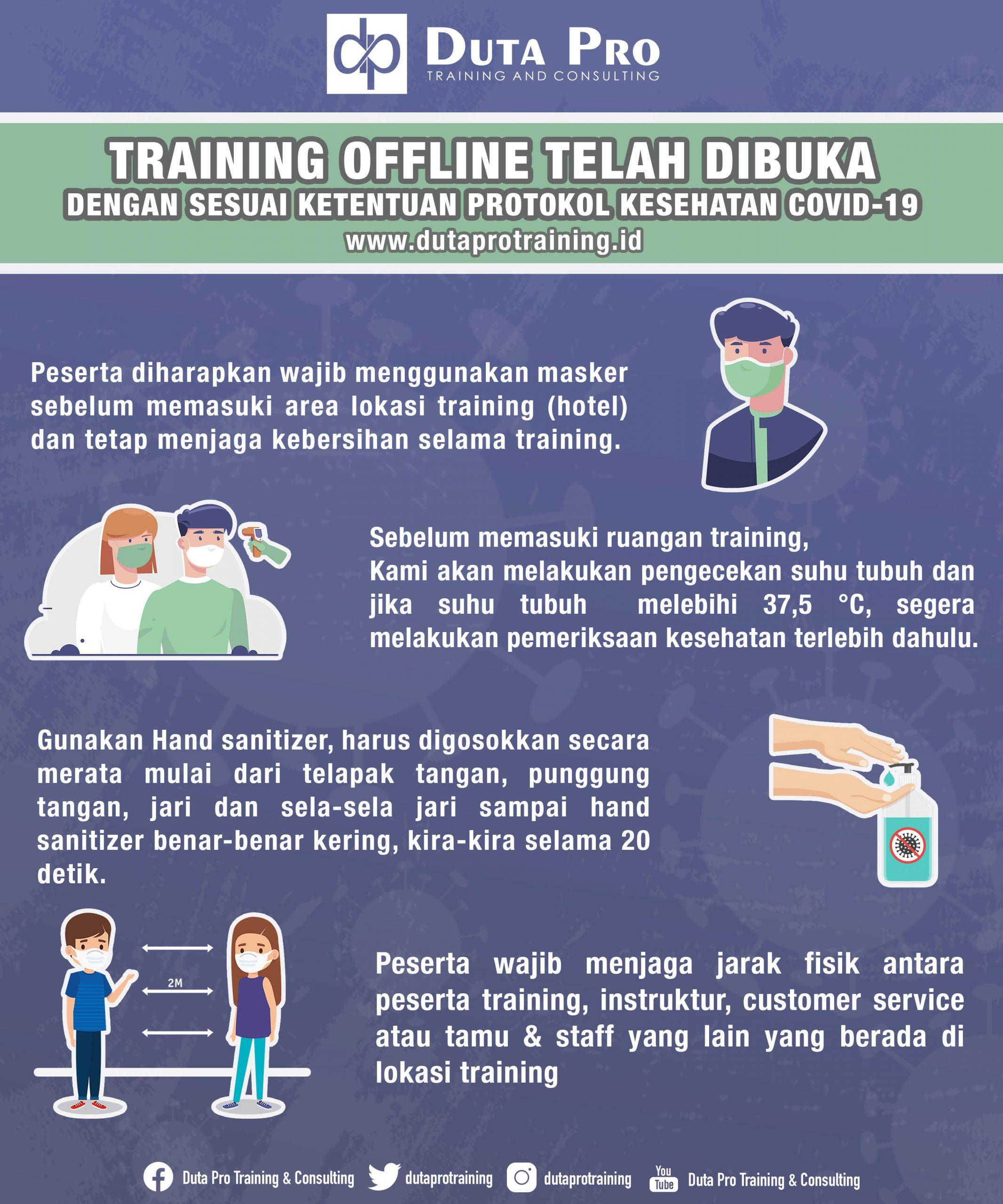 Training Offline Telah Dibuka Dengan Sesuai Ketentuan Protokol Kesehatan COVID-19